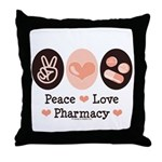 Peace Love Pharmacy Pharmacist Throw Pillow