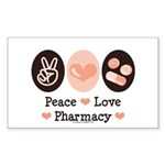 Peace Love Pharmacy Pharmacist Sticker (Rectangula