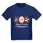 Peace Love Pharmacy Pharmacist Kids Dark T-Shirt