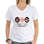 Peace Love Pharmacy Pharmacist Women's V-Neck T-Sh