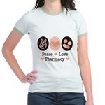 Peace Love Pharmacy Pharmacist Jr. Ringer T-Shirt
