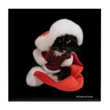 Santa Christmas Cat Tile Coaster