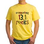 Completing 13.1 Rocks Marathon Yellow T-Shirt