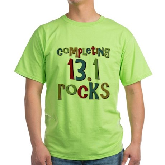 Completing 13.1 Rocks Marathon Green T-Shirt