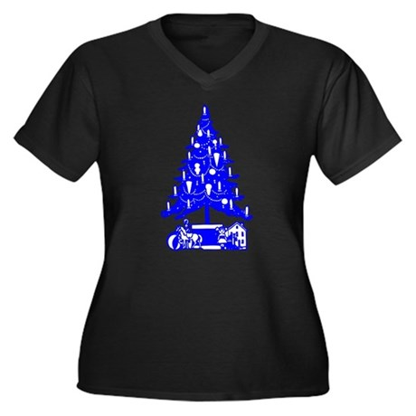 Christmas Tree Women's Plus Size V-Neck Dark T-Shi
