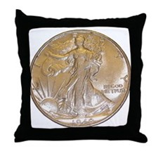Walking Liberty Half Dollar Throw Pillow