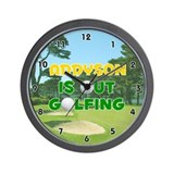 Addyson is Out Golfing (Gold) Golf Wall Clock