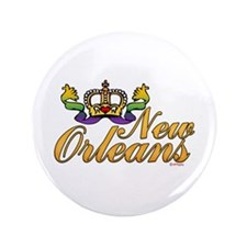 "New Orleans Mardi Gras Crown 3.5"" Button (100 pack"
