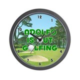 Adolfo is Out Golfing (Green) Golf Wall Clock