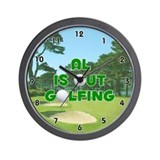 Al is Out Golfing (Green) Golf Wall Clock
