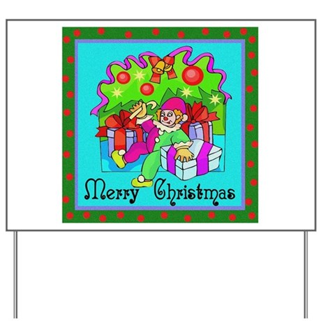 Merry Christmas Clown Yard Sign