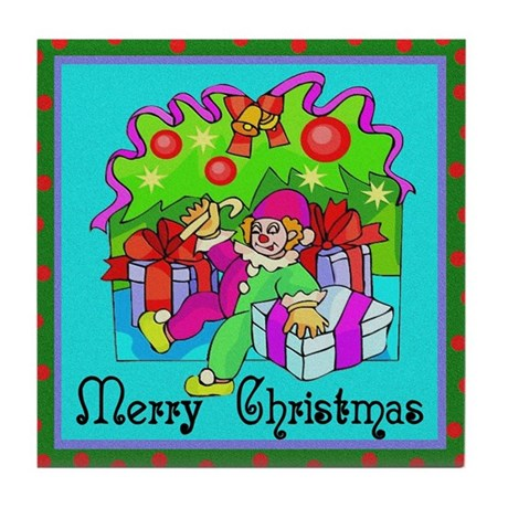 Merry Christmas Clown Tile Coaster