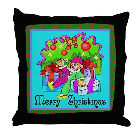 Merry Christmas Clown Throw Pillow