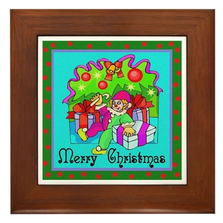 Merry Christmas Clown Framed Tile