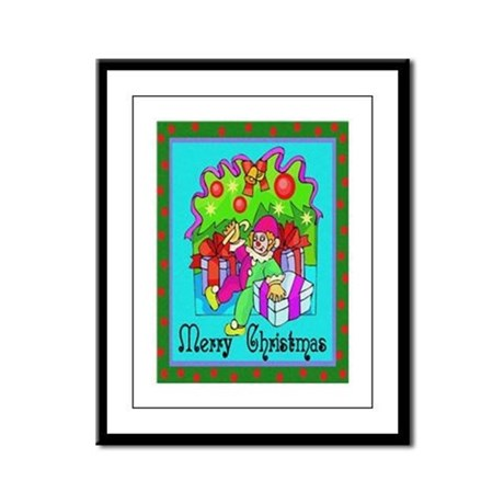 Merry Christmas Clown Framed Panel Print