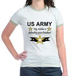 Army My Soldier is defending Jr. Ringer T-Shirt