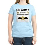 Army My Soldier is defending Women's Pink T-Shirt