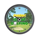 Amani is Out Golfing (Gold) Golf Wall Clock