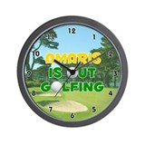 Amaris is Out Golfing (Gold) Golf Wall Clock