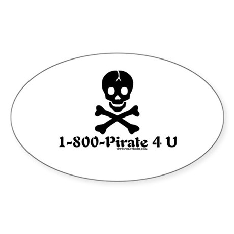 1 800 Pirate 4 U Oval Sticker