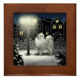 SAMOYED DOG SNOW CITY Framed Tile