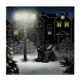 SCOTTISH TERRIER DOG SNOW CITY Tile Coaster