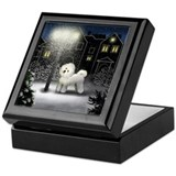 BICHON FRISE DOG SNOW CITY Keepsake Box