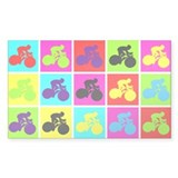 Pop Art Cyclist Rectangle Decal