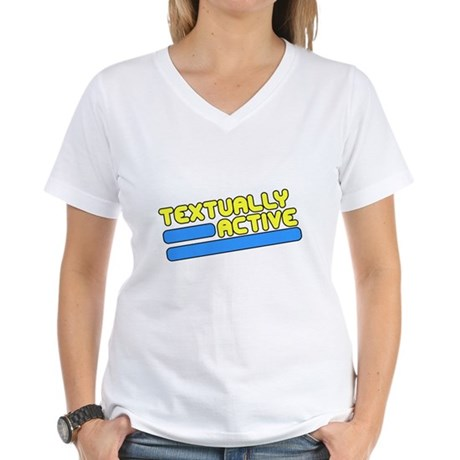 Textually Active Womens V-Neck T-Shirt