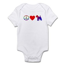 Peace, Love, Wirehaired Fox Terrier Baby Bodysuit