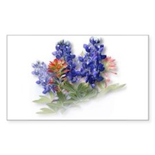 Bluebonnets with Indian Paint Sticker (Rectangular