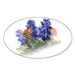 Bluebonnets with Indian Paint Oval Sticker