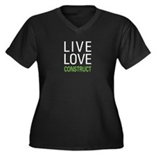 Live Love Construct Women's Plus Size V-Neck Dark