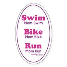 Triathlon Mom Oval Decal