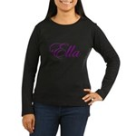 Ella Script Women's Long Sleeve Dark T-Shirt