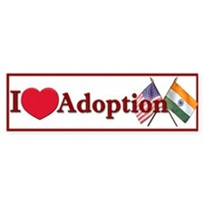 I Love Adoption Bumper Sticker (India/USA)