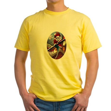 Possum Santa on Rooftop Yellow T-Shirt
