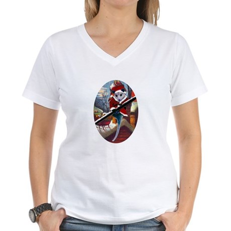 Possum Santa on Rooftop Women's V-Neck T-Shirt