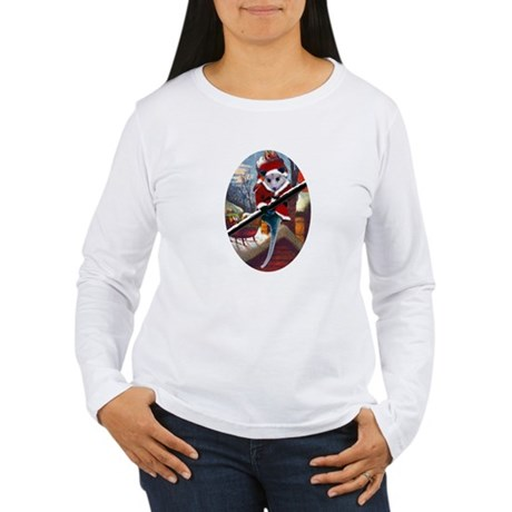 Possum Santa on Rooftop Women's Long Sleeve T-Shir