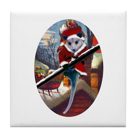 Possum Santa on Rooftop Tile Coaster