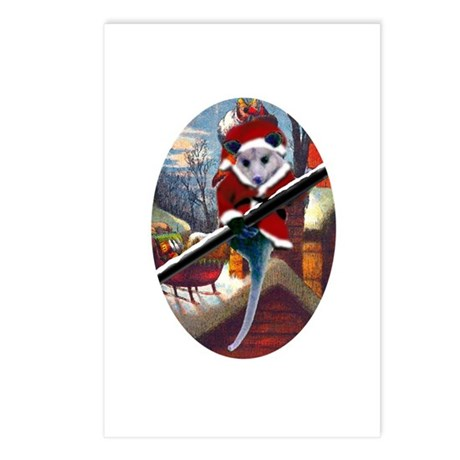 Possum Santa on Rooftop Postcards (Package of 8)