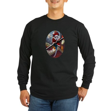 Possum Santa on Rooftop Long Sleeve Dark T-Shirt