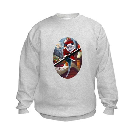 Possum Santa on Rooftop Kids Sweatshirt