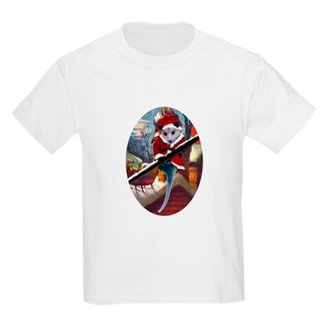 Possum Santa on Rooftop Kids Light T-Shirt