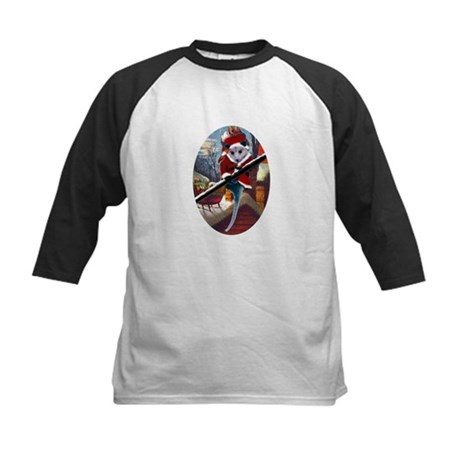 Possum Santa on Rooftop Kids Baseball Jersey