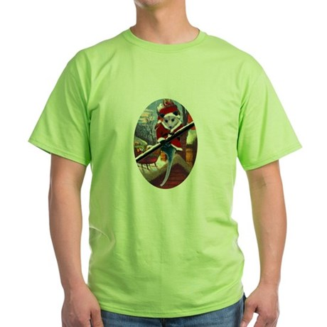 Possum Santa on Rooftop Green T-Shirt