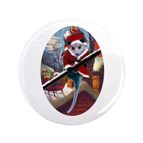 "Possum Santa on Rooftop 3.5"" Button"