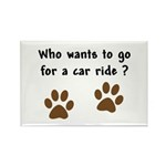 Paw Prints Dog Car Ride Rectangle Magnet (10 pack)