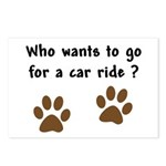 Paw Prints Dog Car Ride Postcards (Package of 8)