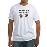 Paw Prints Dog Car Ride Fitted T-Shirt